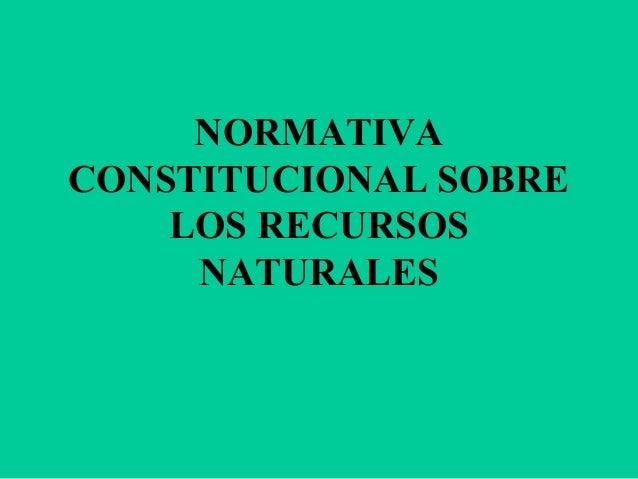 NORMATIVA CONSTITUCIONAL SOBRE LOS RECURSOS NATURALES