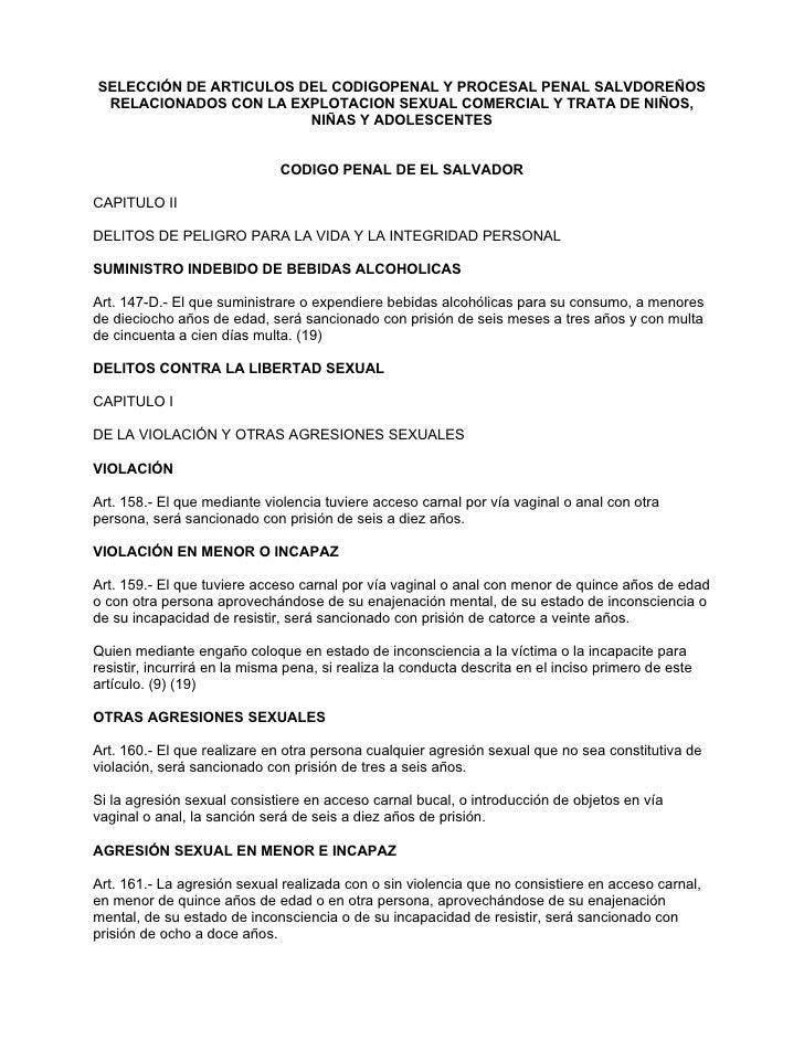 SELECCIÓN DE ARTICULOS DEL CODIGOPENAL Y PROCESAL PENAL SALVDOREÑOS  RELACIONADOS CON LA EXPLOTACION SEXUAL COMERCIAL Y TR...