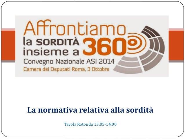 La normativa relativa alla sordità  Tavola Rotonda 13.05-14.00
