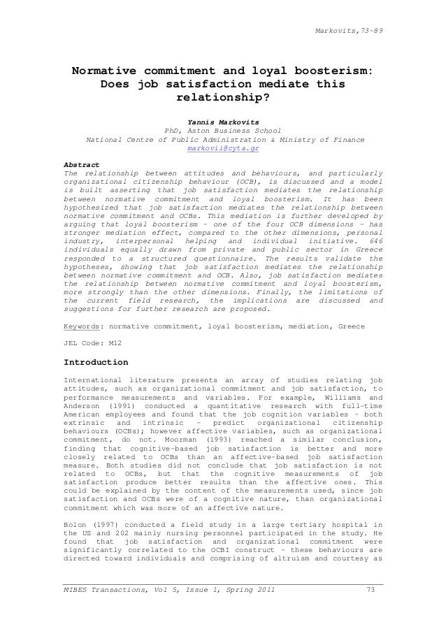 Markovits,73-89  Normative commitment and loyal boosterism: Does job satisfaction mediate this relationship? Yannis Markov...