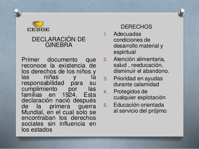 DECLARACIÓN DE GINEBRA Primer documento que reconoce la existencia de los derechos de los niños y las niñas y la responsab...