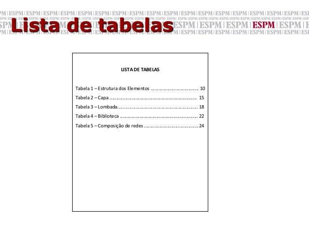 Lista de tabelas                                                   LISTA DE TABELAS              Tabela 1 –...
