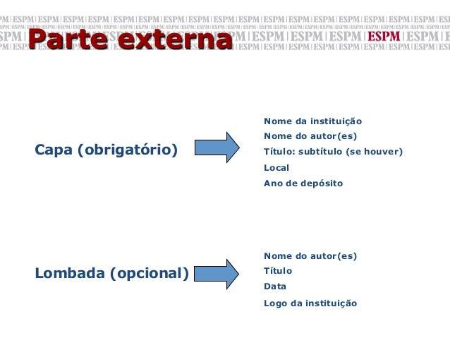 Parte externa                     Nome da instituição                     Nome do autor(es)Capa (obrigatório)   Título: su...