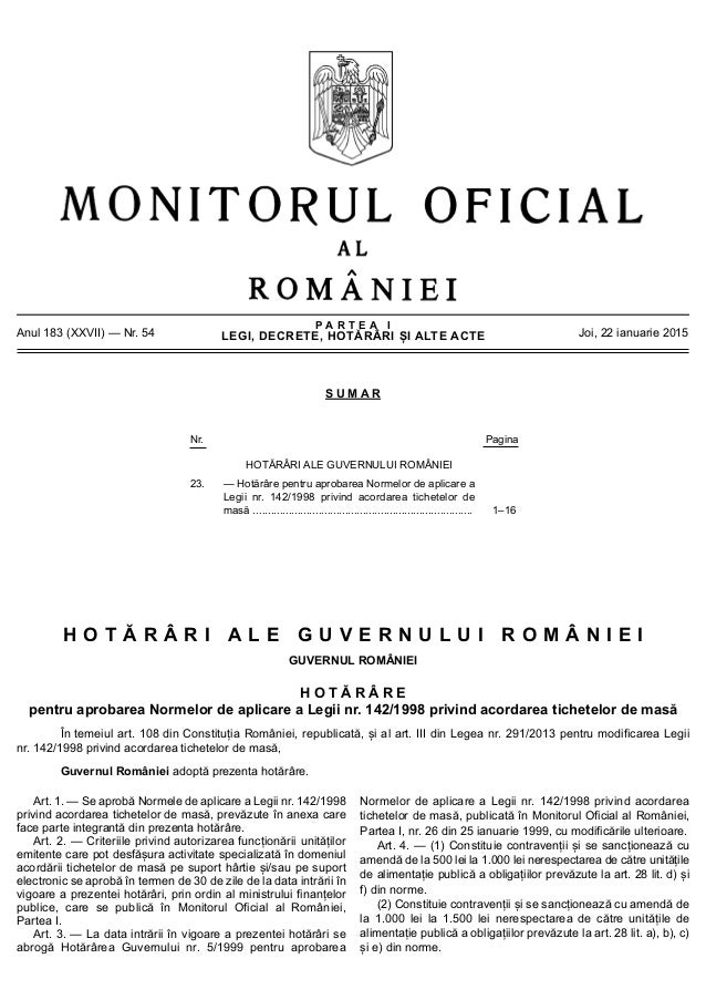 P A R T E A I LEGI, DECRETE, HOTĂRÂRI ȘI ALTE ACTEAnul 183 (XXVII) — Nr. 54 Joi, 22 ianuarie 2015 S U M A R Nr. Pagina HOT...