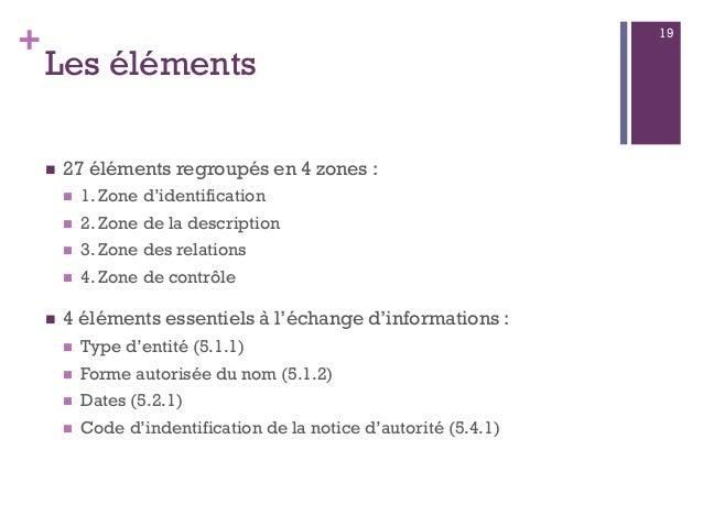 + Les éléments  27 éléments regroupés en 4 zones :  1. Zone d'identification  2. Zone de la description  3. Zone des r...