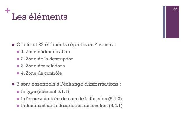 + Les éléments  Contient 23 éléments répartis en 4 zones :  1. Zone d'identification  2. Zone de la description  3. Zo...