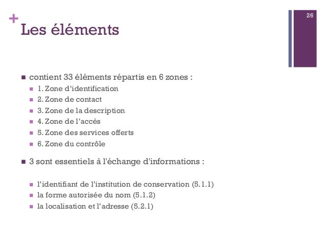 + Les éléments  contient 33 éléments répartis en 6 zones :  1. Zone d'identification  2. Zone de contact  3. Zone de l...