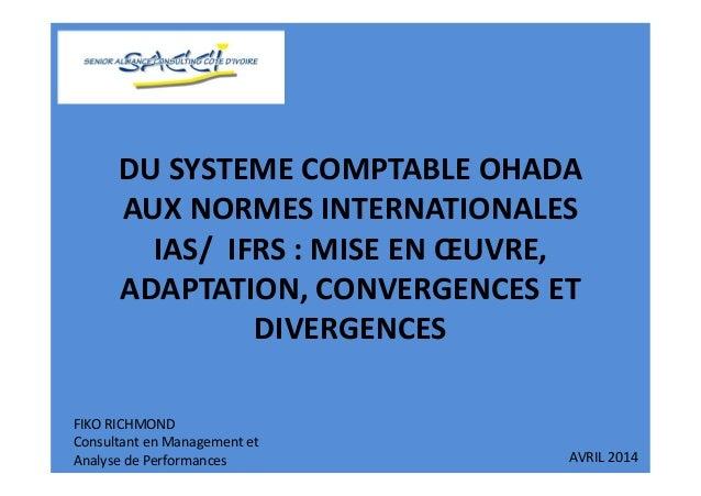 DU SYSTEME COMPTABLE OHADA AUX NORMES INTERNATIONALES IAS/ IFRS : MISE EN ŒUVRE, ADAPTATION, CONVERGENCES ET DIVERGENCES F...