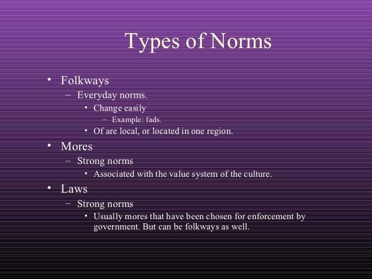 sociological norms mores folkways Social norms william graham sumner (1840-1910) sumner was one of the first americans to teach sociology in a major university (yale) he published folkways in 1906 which sought to.