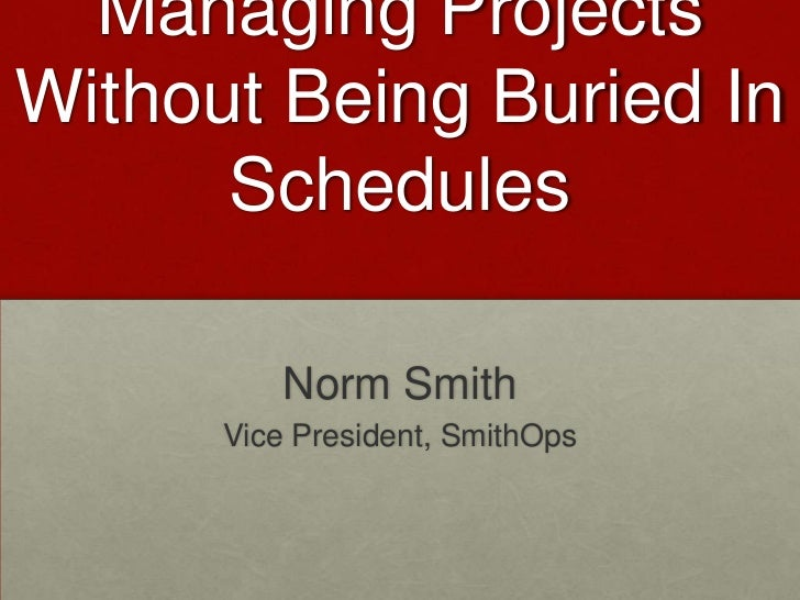 Managing ProjectsWithout Being Buried In      Schedules          Norm Smith      Vice President, SmithOps