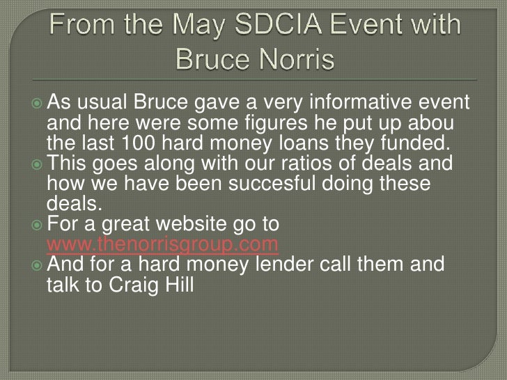 From the May SDCIA Event with Bruce Norris<br />As usual Bruce gave a very informative event and here were some figures he...