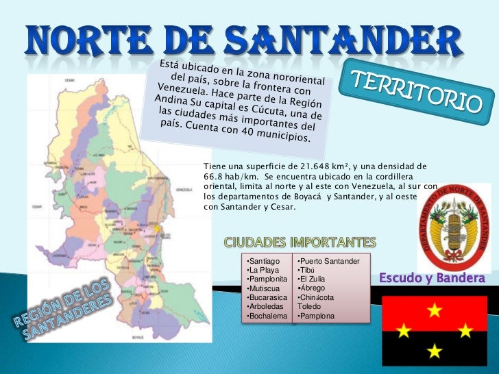 NORTE DE SANTANDER<br />Está ubicado en la zona nororiental del país,sobre la frontera con Venezuela.Hace parte de laRe...