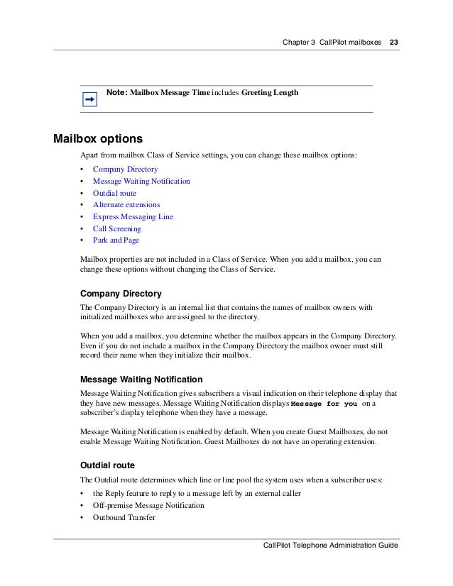 Nortel Call Pilot telephone administration guide