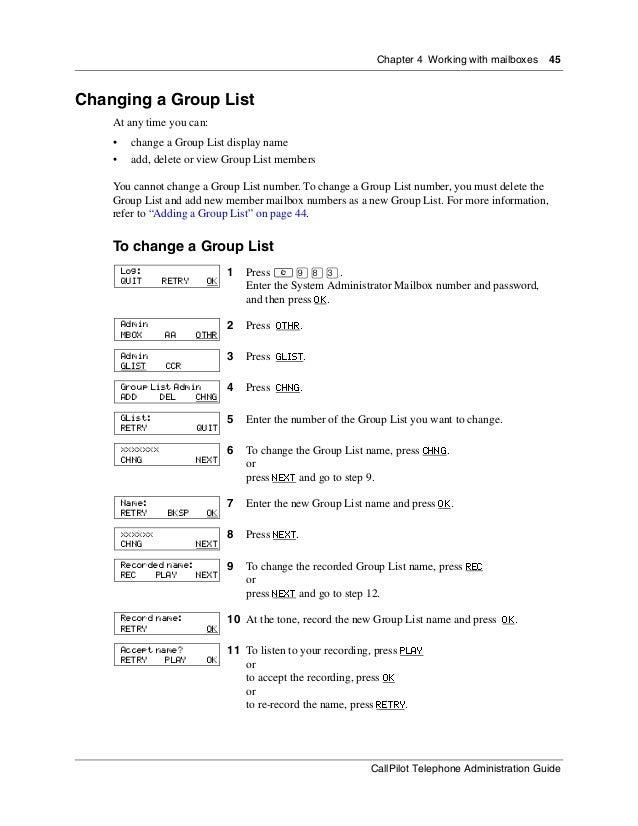 Nortel Call Pilot telephone administration guide