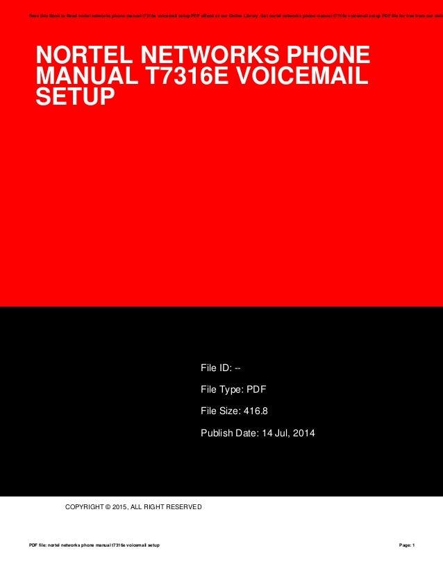 Nortel networks t7316e voicemail