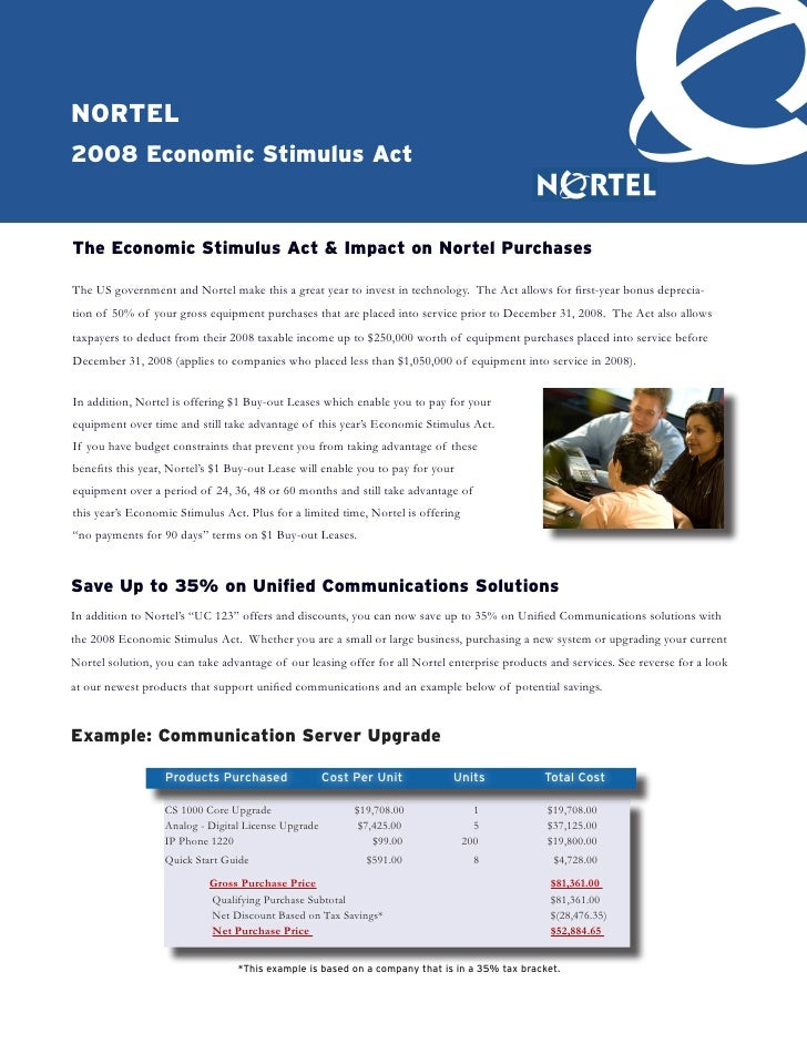nortel 2008 economic Stimulus Act   the economic Stimulus Act & Impact on nortel Purchases  The US government and Nortel m...