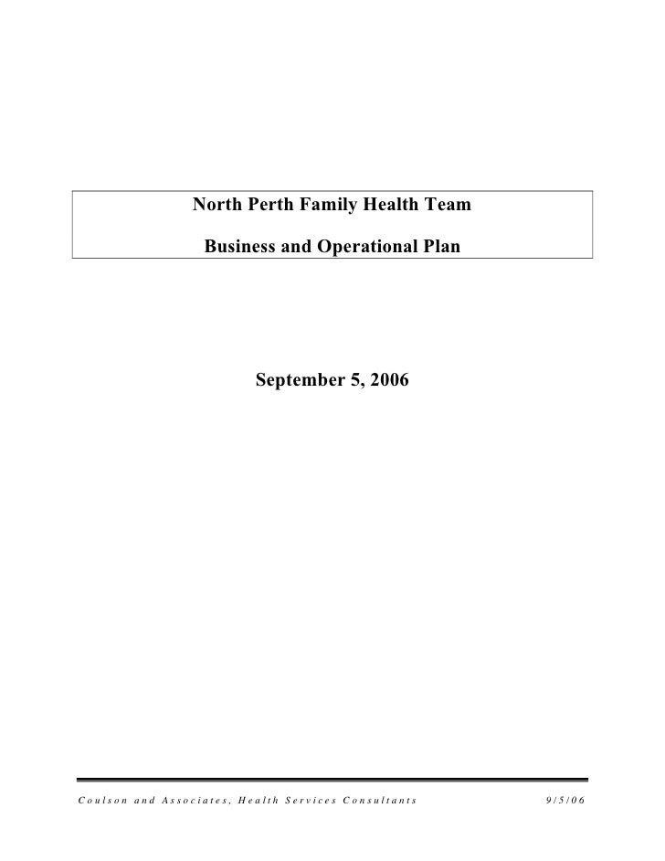 North Perth Family Health Team                    Business and Operational Plan                               September 5,...