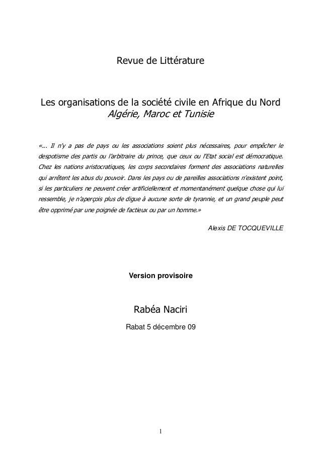 Revue de Littérature  Les organisations de la société civile en Afrique du Nord  Algérie, Maroc et Tunisie  «... Il n'y a ...
