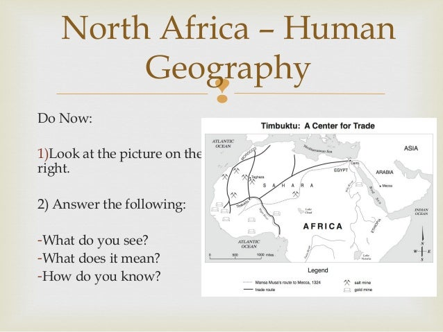 North Africa – Human Geography  Do Now: 1)Look at the picture on the right. 2) Answer the following: -What do you see? -W...