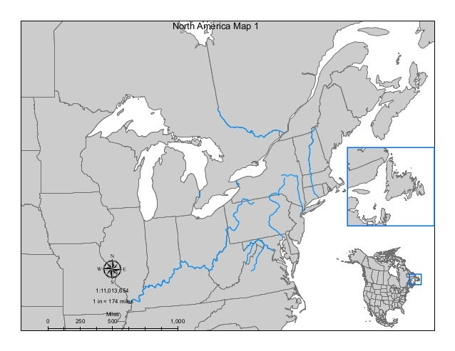 µ 0 500 1,000250 Miles 1 in = 174 miles 1:11,013,654 North America Map 1