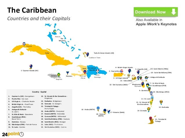 Map Of Caribbean Countries And Their Capitals  Middle East Map