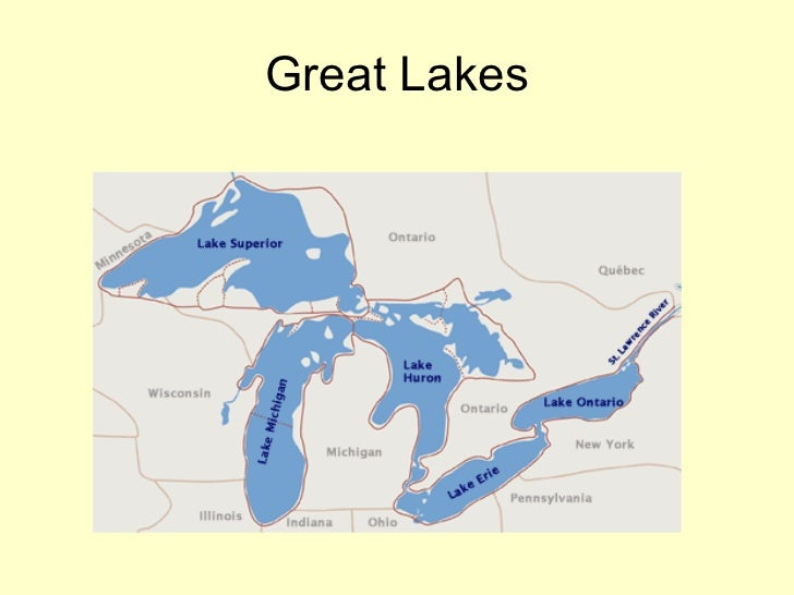 North America Sp - United states map 5 great lakes