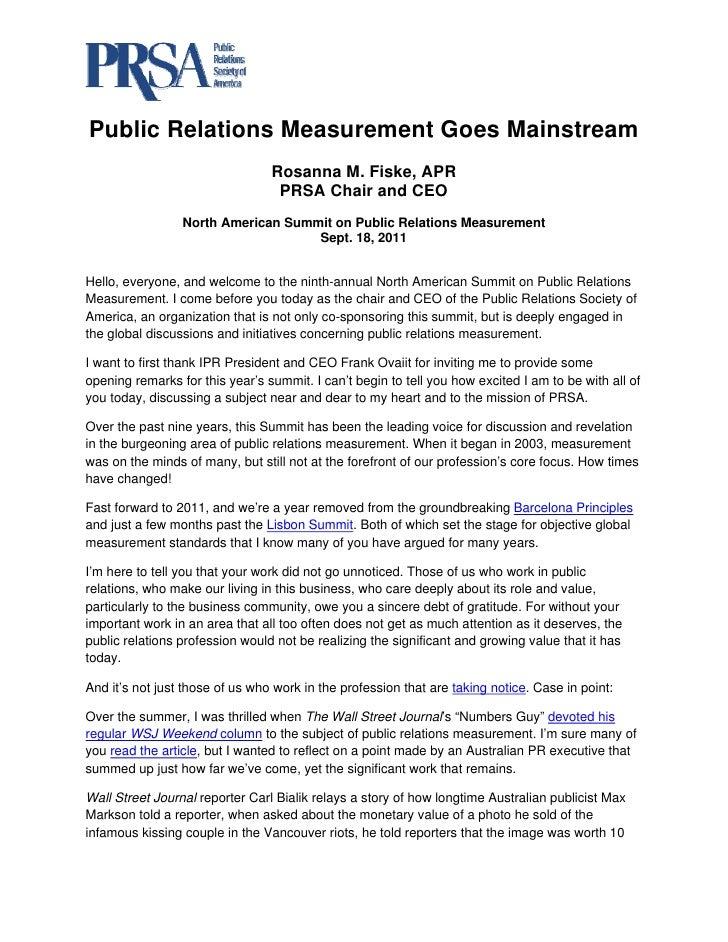 Public Relations Measurement Goes Mainstream                                 Rosanna M. Fiske, APR                       ...