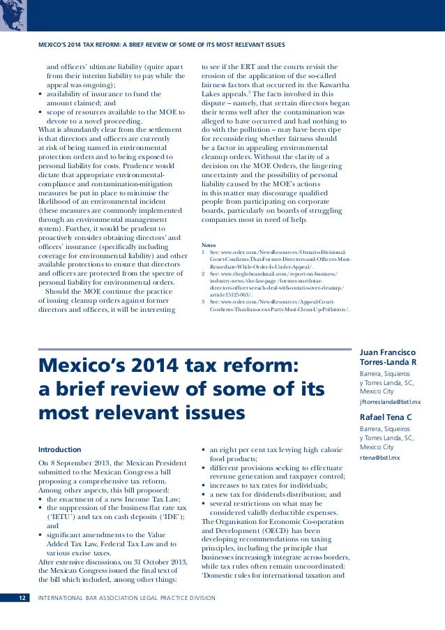 MEXICO'S 2014 TAX REFORM: A BRIEF REVIEW OF SOME OF ITS MOST RELEVANT ISSUES  and officers' ultimate liability (quite apar...