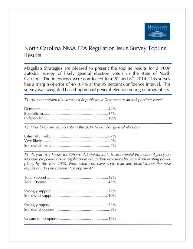 ! ! ! ! ! North Carolina NMA EPA Regulation Issue Survey Topline Results Magellan Strategies are pleased to present the to...