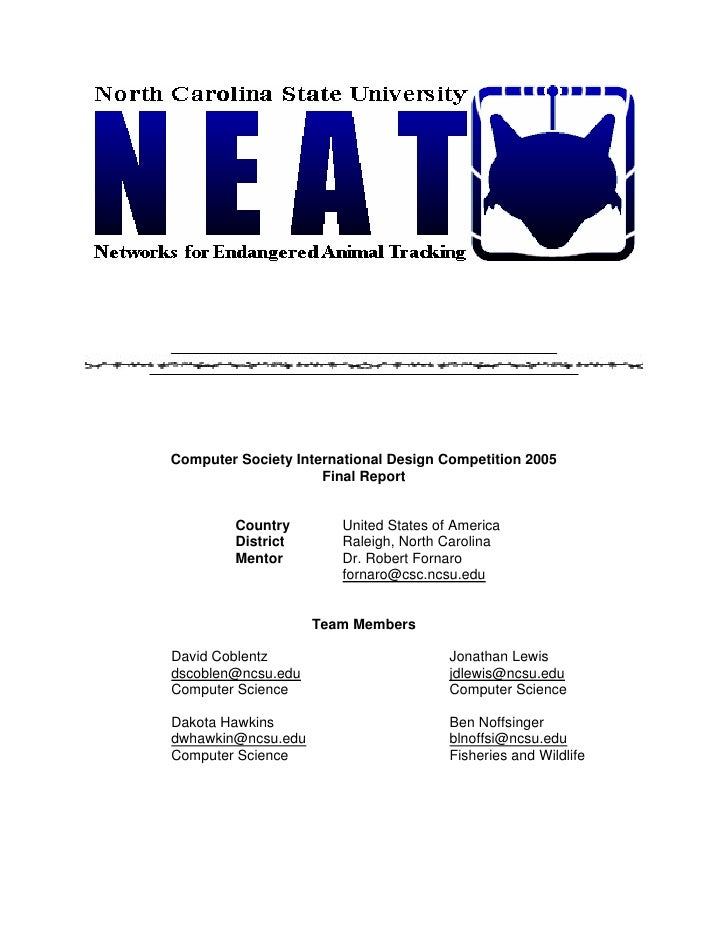 Computer Society International Design Competition 2005                      Final Report            Country        United ...