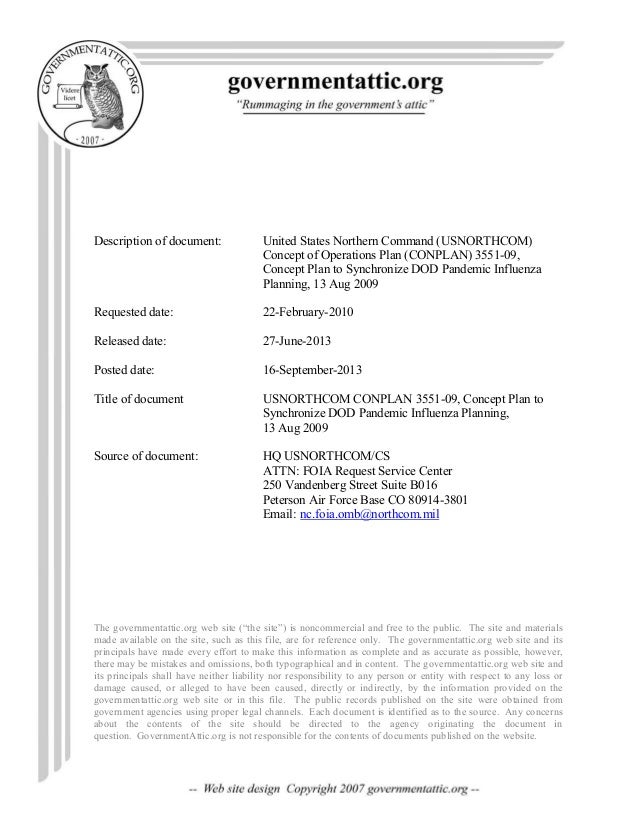 Description of document: United States Northern Command (USNORTHCOM) Concept of Operations Plan (CONPLAN) 3551-09, Concept...