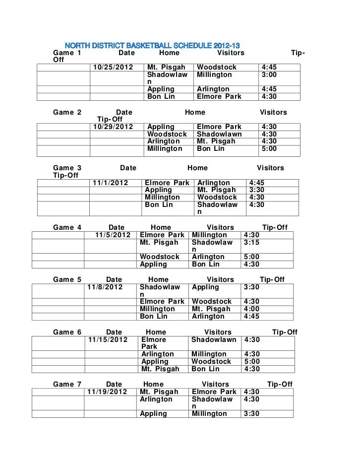 NORTH DISTRICT BASKETBALL SCHEDULE 2012-13          DISTRICTGame 1           Date     Home           Visitors             ...