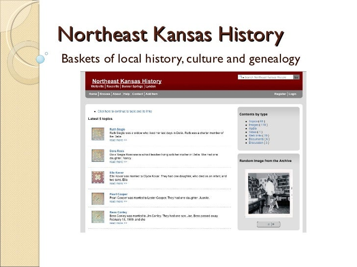 Northeast Kansas History Baskets of local history, culture and genealogy