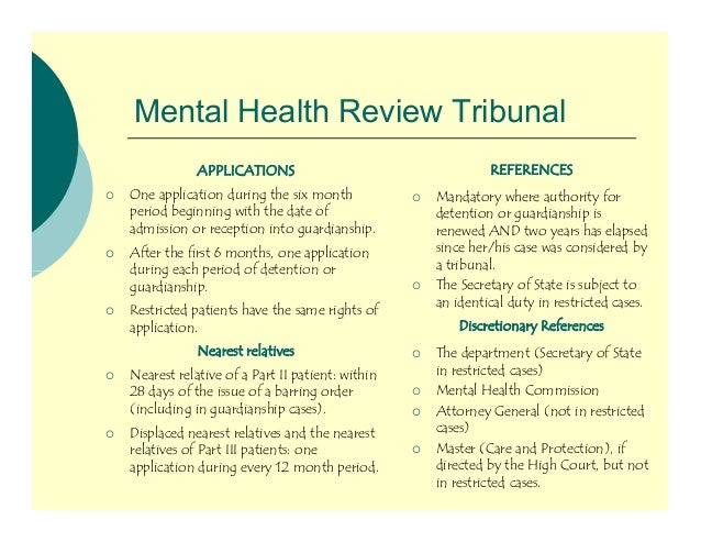 first tier tribunal mental health the tribunal Patients' experiences of the first-tier tribunal (mental health) pdf | 55527 kb tell us about your care your information helps us decide when, where and what to .