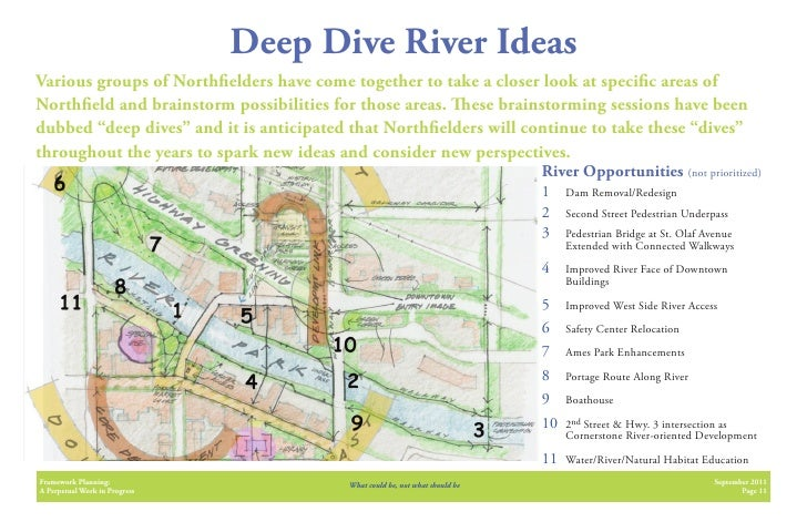 Deep Dive River IdeasVarious groups of North elders have come together to take a closer look at speci c areas ofNorth eld ...
