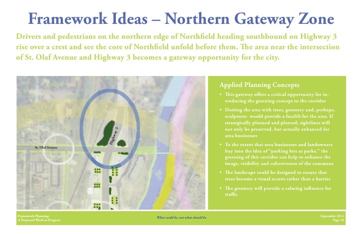 Framework Ideas – Northern Gateway ZoneDrivers and pedestrians on the northern edge of North eld heading southbound on Hig...