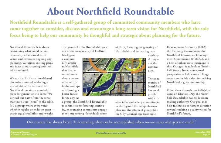 About North eld RoundtableNorth eld Roundtable is a self-gathered group of committed community members who havecome togeth...
