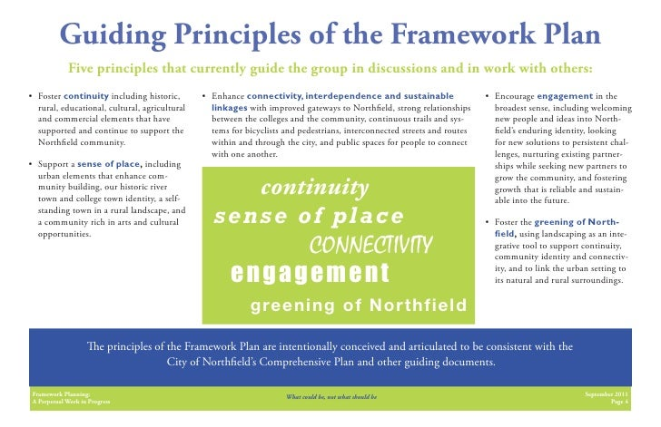 Guiding Principles of the Framework Plan             Five principles that currently guide the group in discussions and in ...