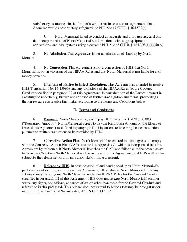 HIPAA Violation Fines: North memorial Hospistal Settlement