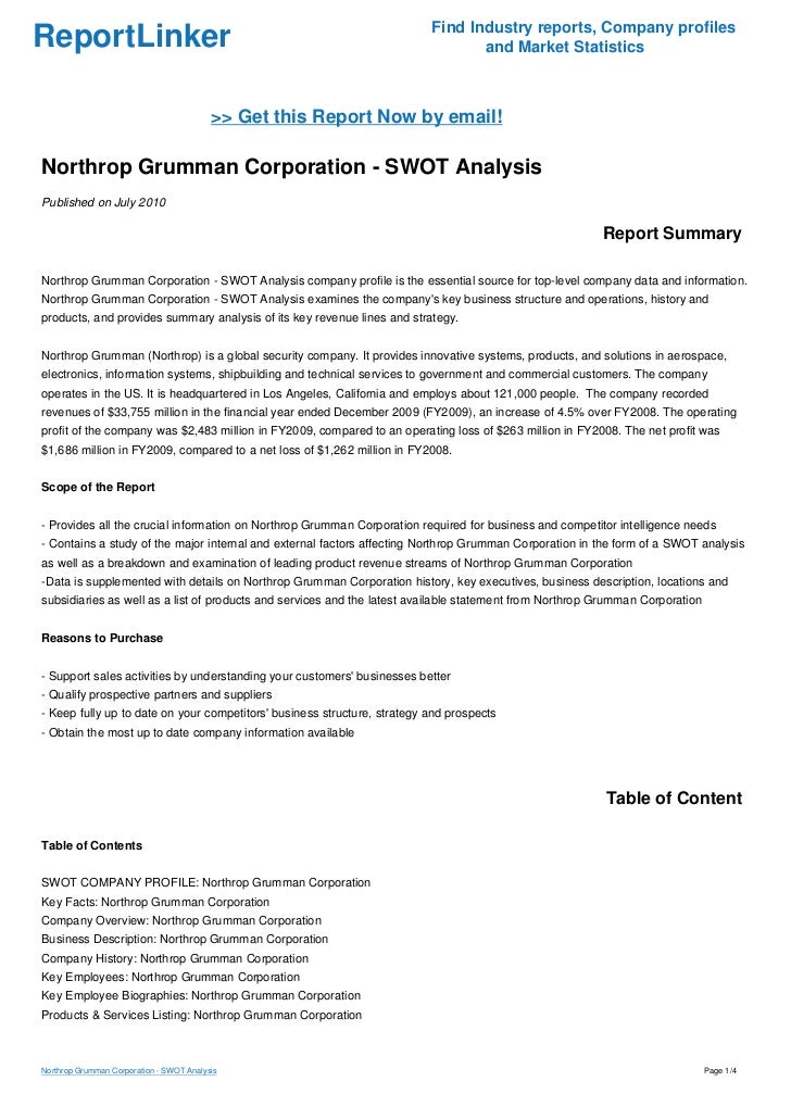 Northrop Grumman Corporation - SWOT Analysis