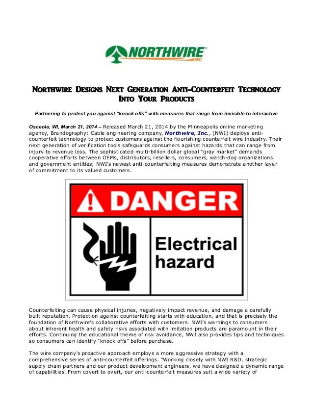 """Northwire Designs Next Generation Anti-Counterfeit Technology Into Your Products Partnering to protect you against """"knock ..."""