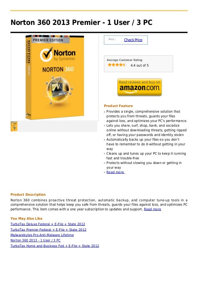 Norton 360 2013 Premier - 1 User / 3 PC                                                               Price :             ...