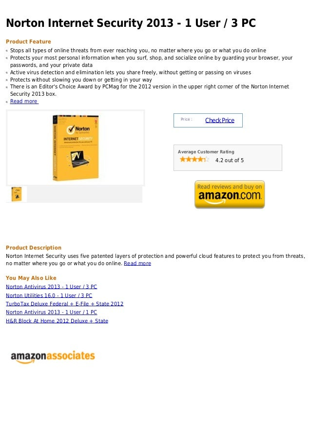 Norton Internet Security 2013 - 1 User / 3 PCProduct Featureq   Stops all types of online threats from ever reaching you, ...