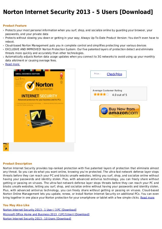 Norton Internet Security 2013 - 5 Users [Download]Product Featureq   Protects your most personal information when you surf...