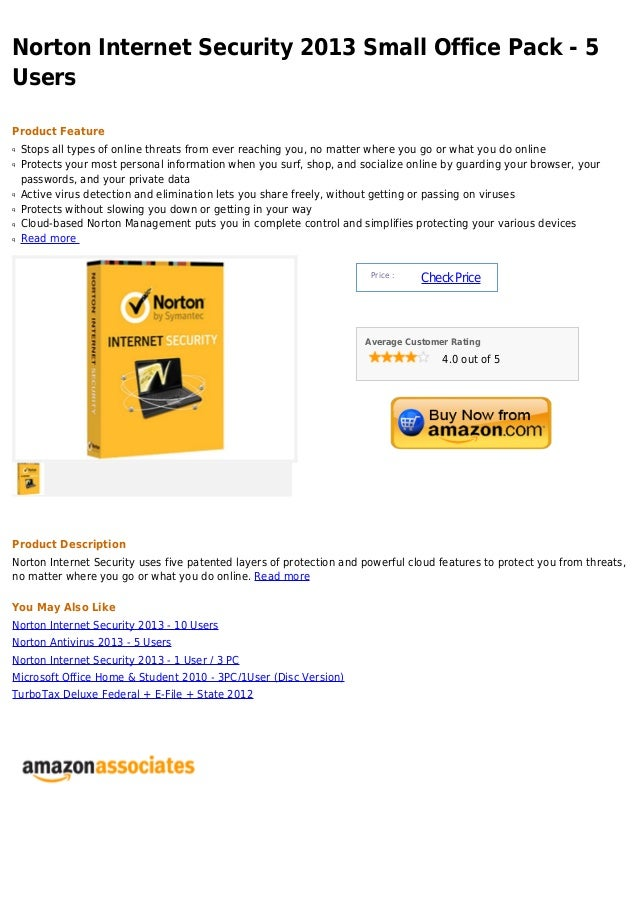 Norton Internet Security 2013 Small Office Pack - 5UsersProduct Featureq   Stops all types of online threats from ever rea...