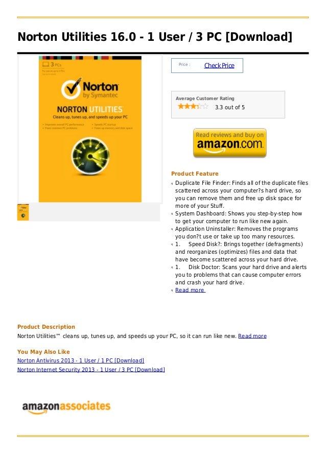 Norton Utilities 16.0 - 1 User / 3 PC [Download]                                                                Price :   ...