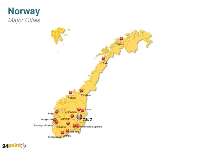 Norway Editable PowerPoint Map - Map of cities in norway