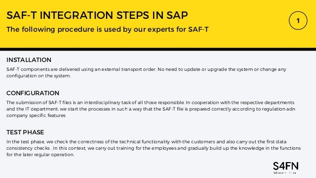 SAF-T INTEGRATION STEPS IN SAP The following procedure is used by our experts for SAF-T INSTALLATION SAF-T components are ...