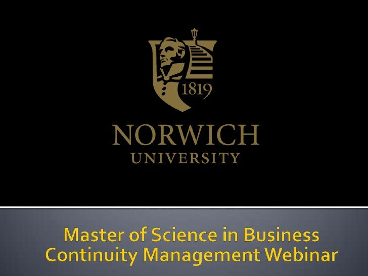 Master of Science in Business Continuity Management Webinar<br />