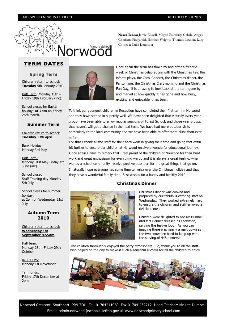 NORWOOD NEWS ISSUE NO 53                                                                          18TH DECEMBER 2009      ...